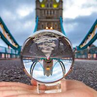 80MM K9 Clear Crystal Ball Photography Lens Background Decor Home Desk+Holder