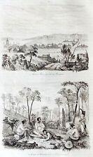 AUSTRALIA - TASMANIA - HOBART TOWN Original 1835 Antique Prints - set of 3