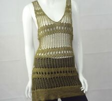Jennifer Lopez  Crochet Goldn moss Women's Tank Blouse Size XL Top  New