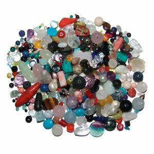500 Gramm Edelsteine Perlen Mischung incl. 5 M Stahlband Schmuck Teile gebohrt