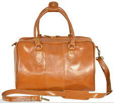 Tan Ladies Duffle Weekend Holdall Travel Hand Real Genuine Premium Leather Bag