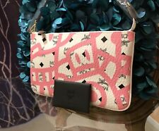 Authentic MCM Luggage Pink/white Leather Pouch Clutch Bag Wallet NEW Rare Limite