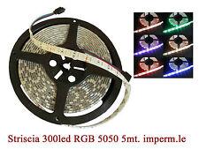 Striscia led 5mt/300led 5050smd RGB mm.10 impermeabile DC 12volt max 48watt
