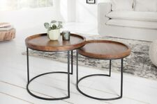 Designer Coffee Table round 2er Set Acacia Solid Wood Coffee Table Zigon 55c