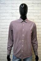 TOMMY HILFIGER Uomo Camicia Taglia L Manica Lunga Camicetta Elastica Custom