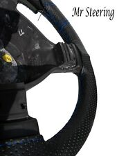 FOR FORD MUSTANG 4 (94-04) BLACK PERFORATED LEATHER STEERING WHEEL COVER BLUE ST