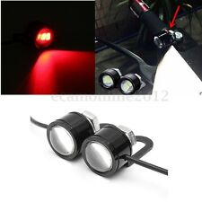 2x Motorcycle Bike Car ATV Mirror Eagle Eye Light Strobe Flash Red LED DRL Lamps