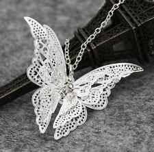 Silver Butterfly Pendant Choker Sweater Necklace Pendant GIFT 2016