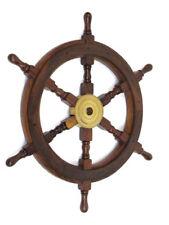"Teak Ship's Steering Wheel 24"" Nautical Pirate Wall Decor Solid Brass Hub New"