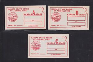 US State Revenues - KS 1937 Egg Inspection - Red Set (Grade A,B,C); E4,E8,E12
