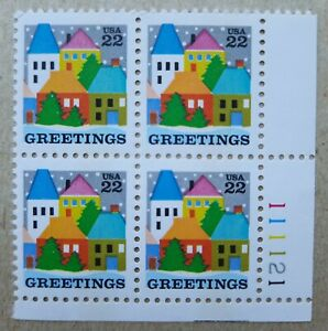1986 HOLIDAY GREETINGS VILLAGE SCENE PLATE BLOCK OF 4 SC# 2245 MNH 22-CENT
