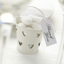 5 X Ivory Heart Favour Pails Wedding Anniversary Birthday Occasion