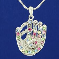 "W Swarovski Crystal Baseball Softball Glove Ball Necklace Jewelry 18"" Chain"