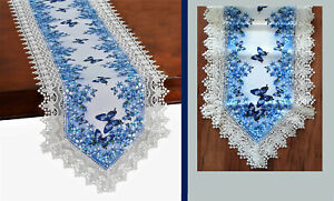 Blue Butterflies White Lace Trimmed Floral Table Runner 67 x 17