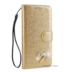 Leather Bling Heart Sign Wallet Glitter Book Case Cover For Apple iPhone 7 / 8
