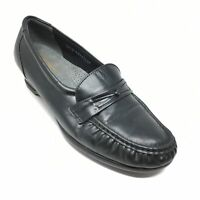 Women's SAS Easier Wedge Clogs Loafers Shoes Size 8.5 W Wide Black Leather AB11