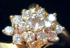 14k YELLOW GOLD VINTAGE ESTATE .85TCW DIAMOND CLUSTER RING, Size 8