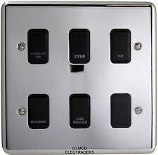 6 Gang Grid Switch Polished Chrome with Black Switches