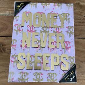 RARE Oliver Gal Chanel 'Money Never Sleeps' Canvas Flower Fashion Wall Art 11x14