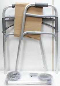 "Healthline Front Wheeled Deluxe Folding Walker Adjustable Height 5"" Wheels"