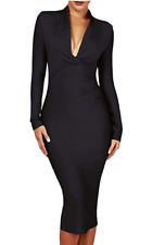 Herve Leger Long Sleeve Bandage Dress Draped Deep Plunged Black Party A488 *L