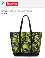 Supreme Skull Pile Denim Tote Black SS18B13 SS18 Supreme New York 2018 Brand New