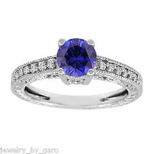 BLUE SAPPHIRE & DIAMOND ENGAGEMENT RING 1.14 CARAT 14K WHITE GOLD VINTAGE STYLE
