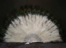 "MARABOU FEATHER FAN - IVORY w/ Peaock 24"" x 14"" Burlesque/Costume/Halloween"