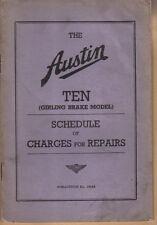 Austin Ten 10 Girling Brake original Schedule of Repair Charges 1/1939 No. 1564A