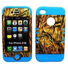 Mossy Ducks Camo Hybrid Case Light Blue Skin Cover For Apple iPhone 4 4S 4GS
