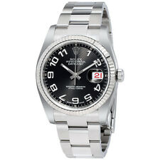 Rolex Datejust Black Concentric Dial Steel and 18K White Gold Mens Watch