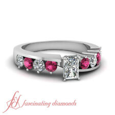 1.25 Ct Radiant Diamond Platinum Engagement Rings For Her With Round Sapphire
