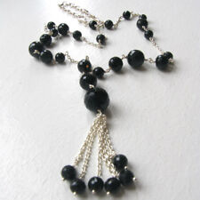 Black Onyx Faceted Bead Necklace Set In Sterling Silver