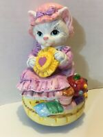 Lefton Porcelain Cat Figurine Musical My Favorite Things 1994 Music Box Spins