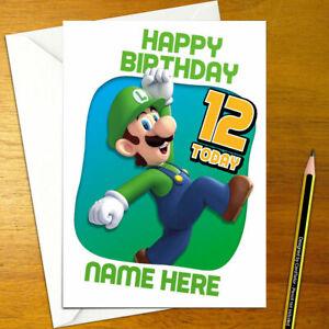 LUIGI Personalised Birthday Card - mario personalized nintendo bowser bros 1up