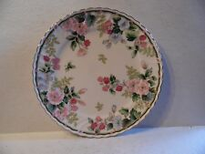 "Vintage Cake Plate Exceed Bon Grand Berry Pattern Flowers and Berries 10 3/4"" D"