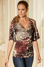 Boston Proper Gorgeous Deep V Animal Ruched Open Shoulder Tunic Top NEW M 10-12