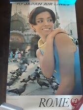 Vintage JAPAN AIRLINES ~ ROME ITALY travel poster - Original 1960s airline 24x39