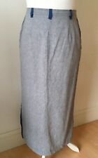 NEW Linen Chambray Long Maxi Skirt UK12 US8 Denim Blue Pockets Smart Work Office