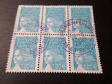 FRANCE 2002 timbre 3455, MARIANNE DE LUQUET en bloc, oblitéré, VF cancel STAMP