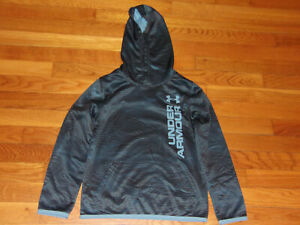 UNDER ARMOUR LONG SLEEVE DARK GRAY/BLUE HOODIE BOYS SMALL EXCELLENT CONDITION