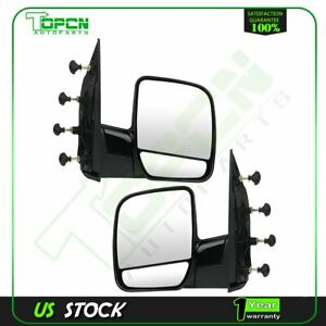 Pair Side View Manual Mirrors For 02-08 Ford E150 E250 E350 E450 E550 Van