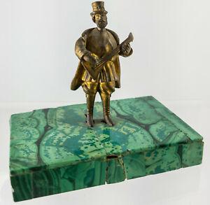 Antique Russian Miniature Bronze Musician Balalaika Malachite Base 19th Century