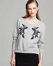New Rebecca Minkoff pearl Floral Longsleeve pullover sweatshirt Gray Sz L