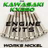 Works Nickel ENGINE Bolt Kit for Kawasaki KX250 | Fasteners w/showroom finish!