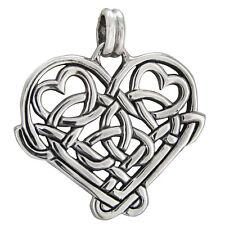 Sterling Silver Celtic Love Knot Heart Pendant - Irish Knotwork Romatic Jewelry