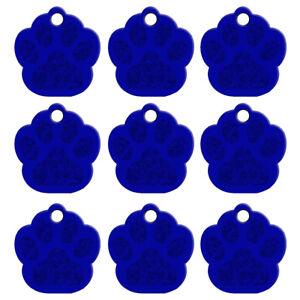 20pcs/lot Bling Paw Shape Custom Pet Dog Tags Disc ID Engraved Collar Tag Blue