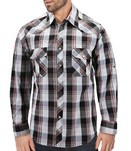 Men's Casual Western Button Down Pearl Snap Plaid Cowboy Long Sleeve Shirt