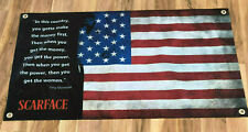 Scarface banner thick canvas vinyl US american flag poster Tony Montana sign Z09