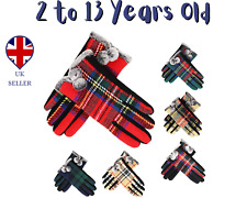 Kids Gloves Traditional Scottish Tartan winter 2 to 13 years old with Pompom